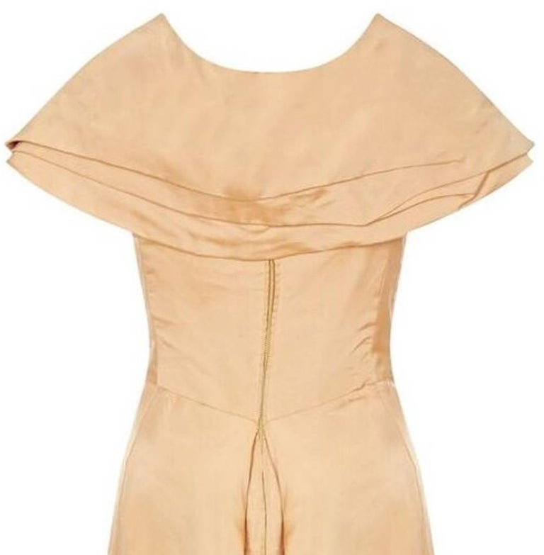 1950s Christian Dior Demi Couture Gold Silk Dress With Detachable Shawl For Sale 1