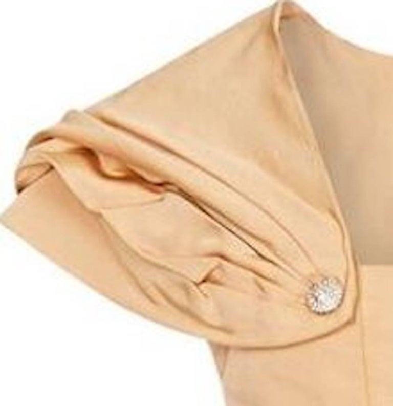 1950s Christian Dior Demi Couture Gold Silk Dress With Detachable Shawl For Sale 2