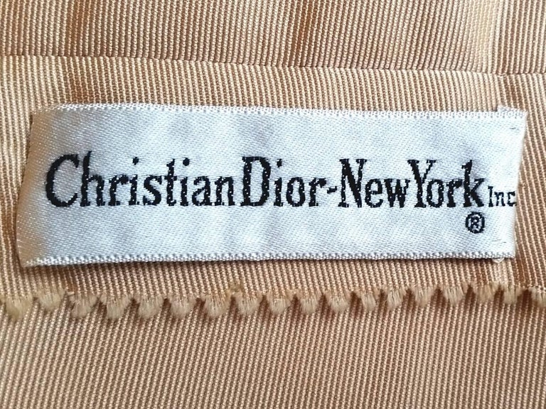1950s Christian Dior Demi Couture Gold Silk Dress With Detachable Shawl For Sale 4