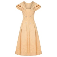 1950s Christian Dior Demi Couture Gold Silk Dress With Detachable Shawl
