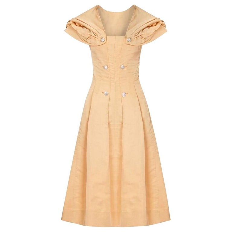 1950s Christian Dior Demi Couture Gold Silk Dress With Detachable Shawl For Sale