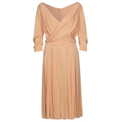 1950s Christian Dior New Look Peach Silk Dress With Cross Over Bodice