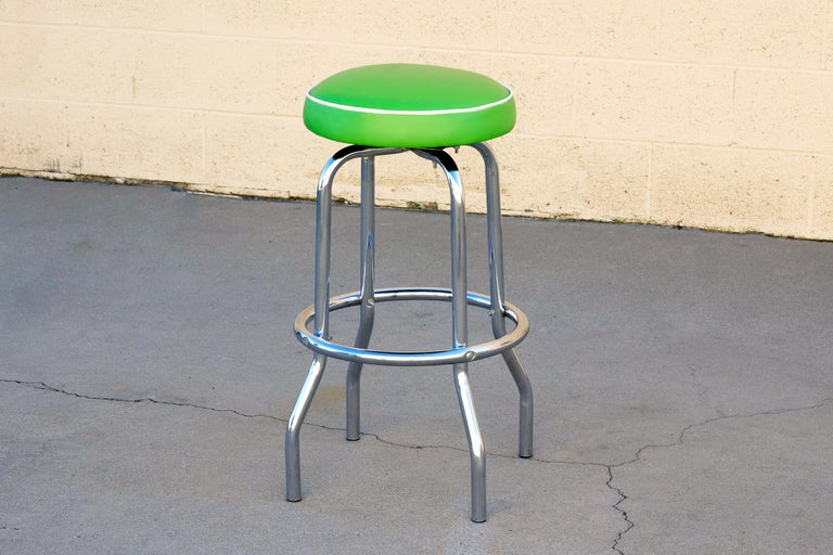 1950s Chrome Diner Stool With Lime Green Seat At 1stdibs