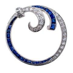 1950s Circle Sapphire Diamond Platinum Brooch