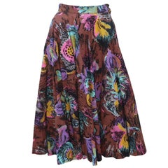1950's Circle Swing Skirt With Novelty Glitter Floral Print
