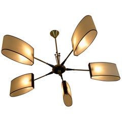 1950s Circular Five Lighted Arms Chandelier by Maison Lunel