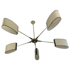 1950s Circular Five-Lighted Arms Chandelier by Maison Lunel