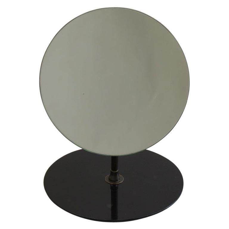 1950s Circular Hat Shop Adjustable Mirror on Black Ebonized Stand