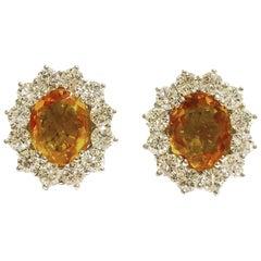 1950s Citrine Diamonds White Gold Stud Earrings