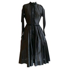 1950s Claire McCardell for Townley Black Button Front Dress with Lace Trim