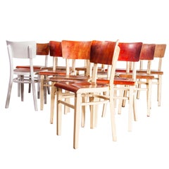 1950s Classic Elegant Bentwood Painted Dining Chair by Thon, Set of Twelve