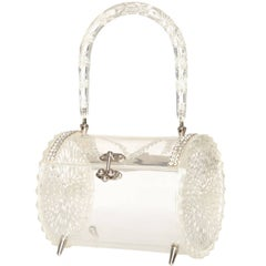 1950s Clear Carved Lucite & Rhinestone Barrel Bag
