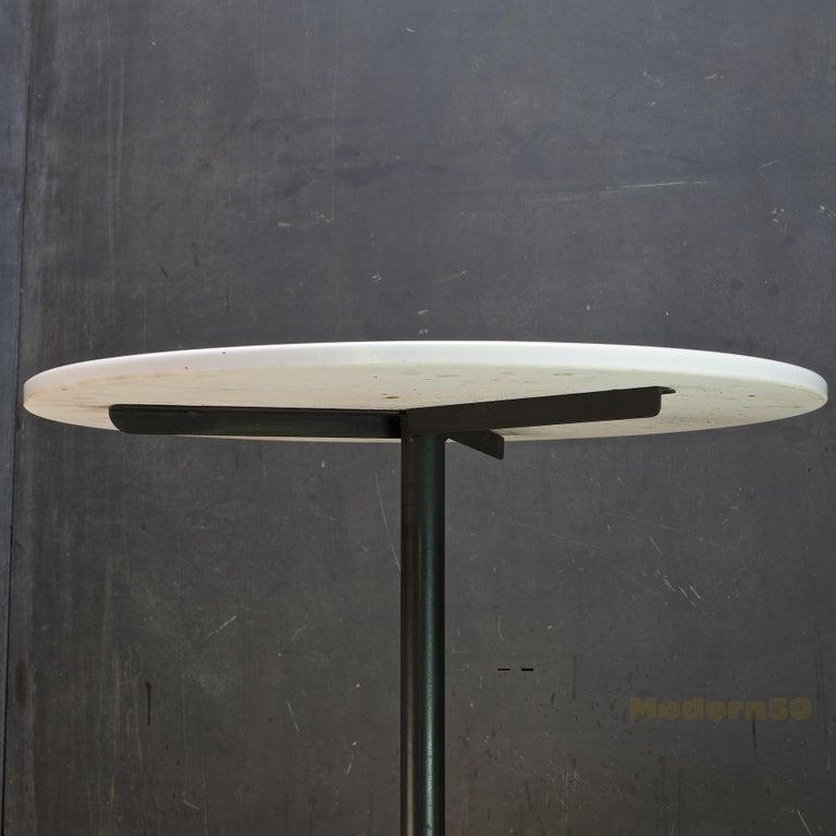 American 1950s Clifford Pascoe Atomic Vitrolite Bistro Cafe Table Iron & White Milk Glass For Sale