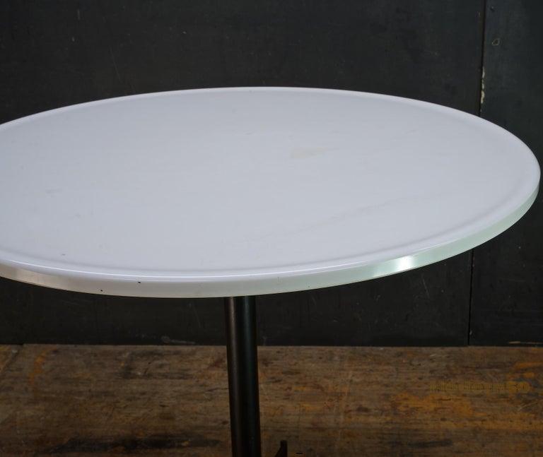 Molded 1950s Clifford Pascoe Atomic Vitrolite Bistro Cafe Table Iron & White Milk Glass For Sale