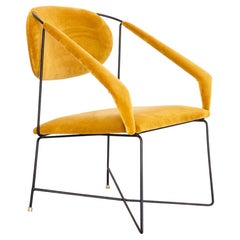 1950s Club Chair in Wrought Iron and Yellow Velvet, Brazilian Mid Century Modern