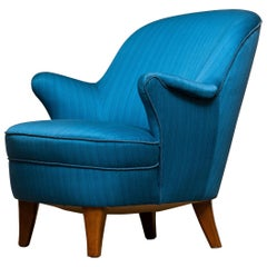 1950s Club / Lounge / Easy Chair in the Manner of Kurt Olsen in Petrol Fabric