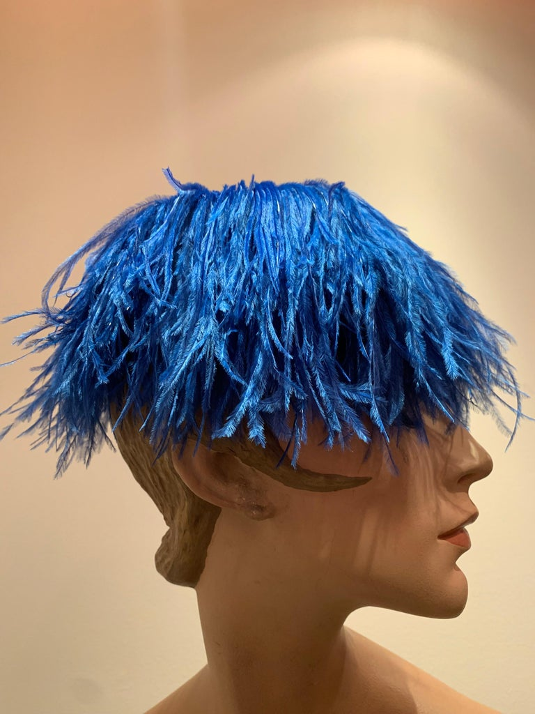 Women's 1950s Cobalt Blue Ostrich Feather Fringe Pillbox Hat  For Sale
