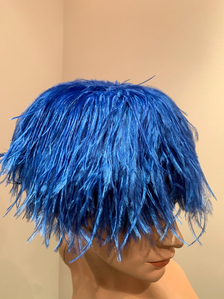 1950s Cobalt Blue Ostrich Feather Fringe Pillbox Hat  For Sale 1