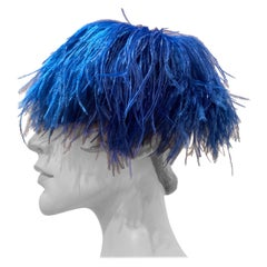 1950s Cobalt Blue Ostrich Feather Fringe Pillbox Hat