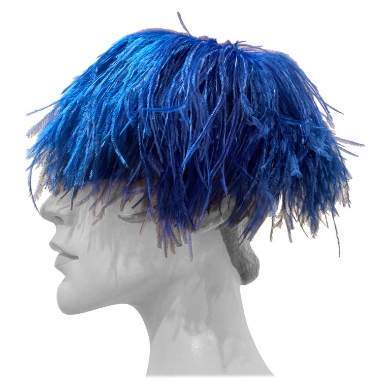 1950s Cobalt Blue Ostrich Feather Fringe Pillbox Hat  For Sale