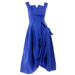 1950s Cobalt Blue Ribbed Vintage Evening Dress With Draping and Bow