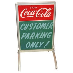 "1950s Coca-Cola Curb Advertising Tin Sign ""Customer Parking Only"""