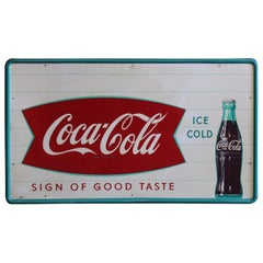 "1950s Coca-Cola ""Sign of Good Taste"" Pressed Metal Fishtail Sign"