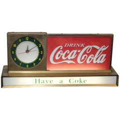 1950s Coca Cola Soda Advertising Counter Light Up Sign with Round Clock