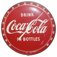"1950s Coca Cola Soda Advertising ""Drink In Bottles"" Thermometer Sign"