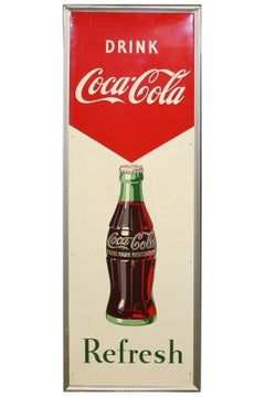1950s Coca-Cola Vertical Tin Advertising Sign