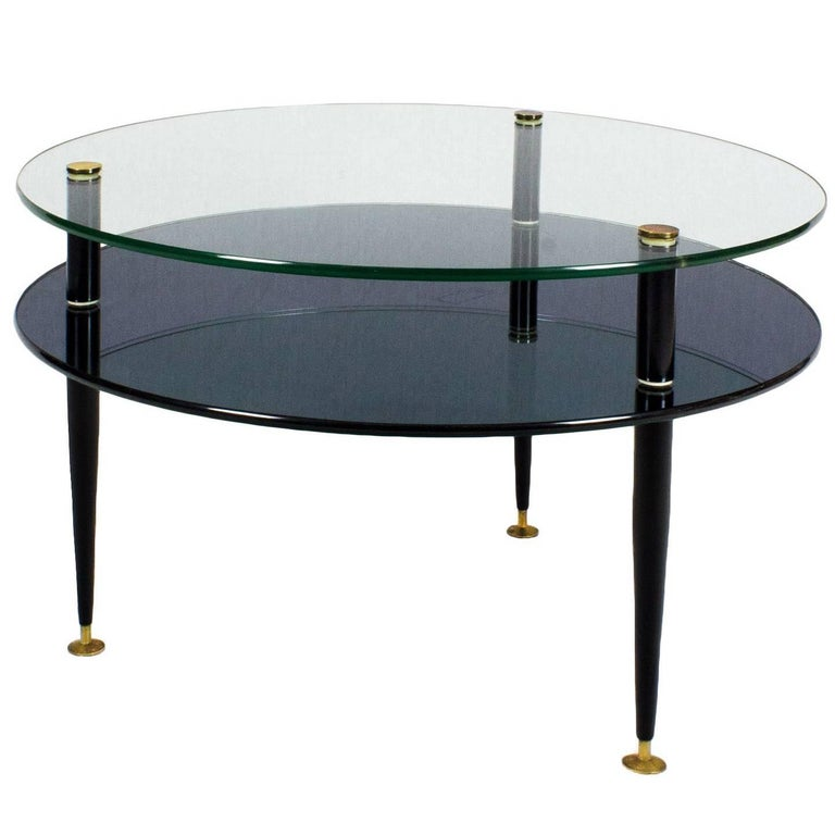 1950s Coffee Table, Steel, Glass, Mirror, Brass, Italy