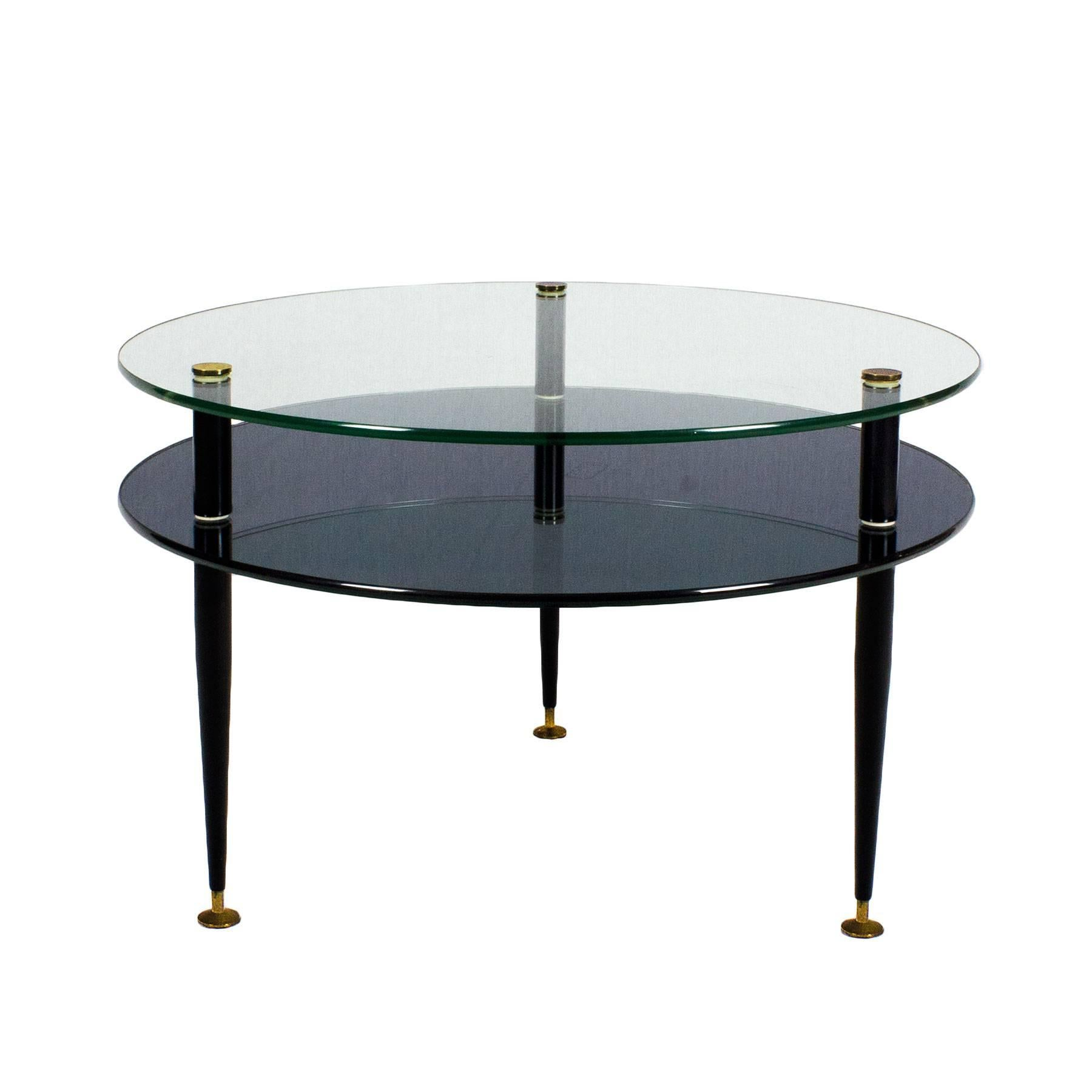 High Quality Coffee Table, Black Lacquered Steel Feet With Adjusting Screws  And Solid Brass Decorating