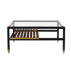 1950s Coffee Table, Blackened Steel, Brass, Wenge Slats, Glass, Italy