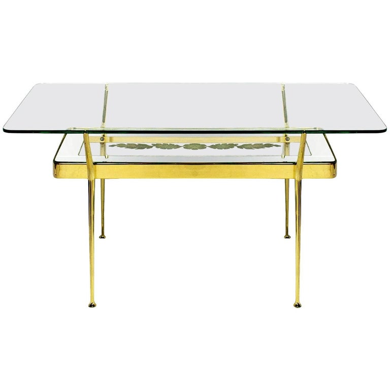 1950s Coffee Table By Cesare Lacca, Brass, Mirrored And