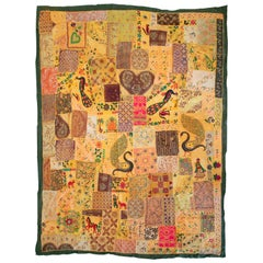 1950s Colonial Style Hand Sewn Indian Patchwork Tapestry with Vivid Colors