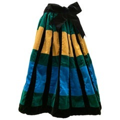 1950s Color Block Velvet Full Gathered Skirt In Black Emerald Sapphire And Gold