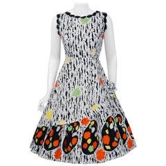 1950's Colorful Artist Palette Novelty Print Cotton Applique Full-Skirt Dress