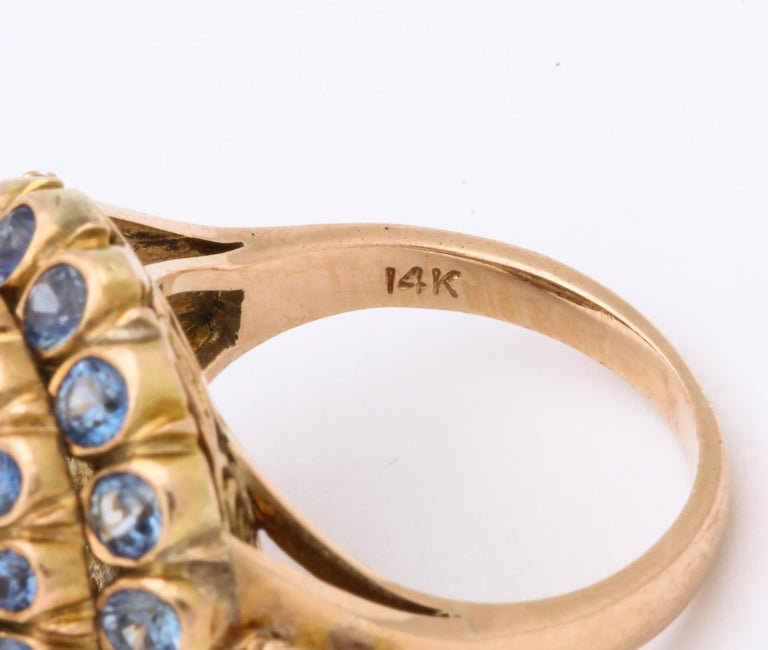 1950s Cone Style Pastel Color Sapphires with Gold Moveable Cocktail Ring For Sale 6