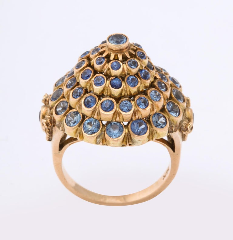 Round Cut 1950s Cone Style Pastel Color Sapphires with Gold Moveable Cocktail Ring For Sale