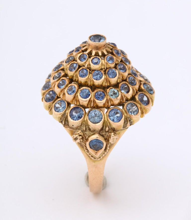Women's 1950s Cone Style Pastel Color Sapphires with Gold Moveable Cocktail Ring For Sale
