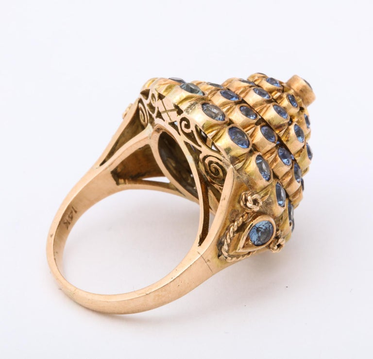 1950s Cone Style Pastel Color Sapphires with Gold Moveable Cocktail Ring For Sale 1