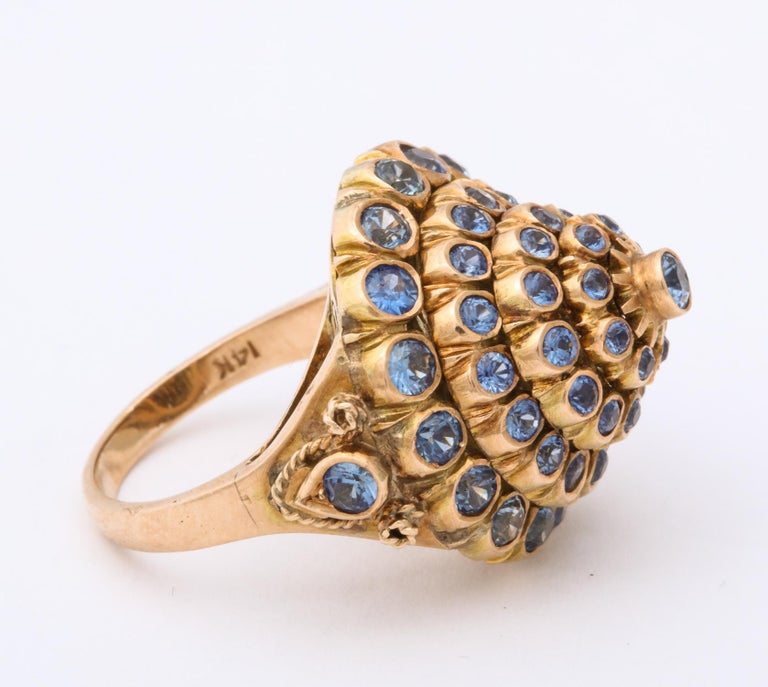 1950s Cone Style Pastel Color Sapphires with Gold Moveable Cocktail Ring For Sale 2
