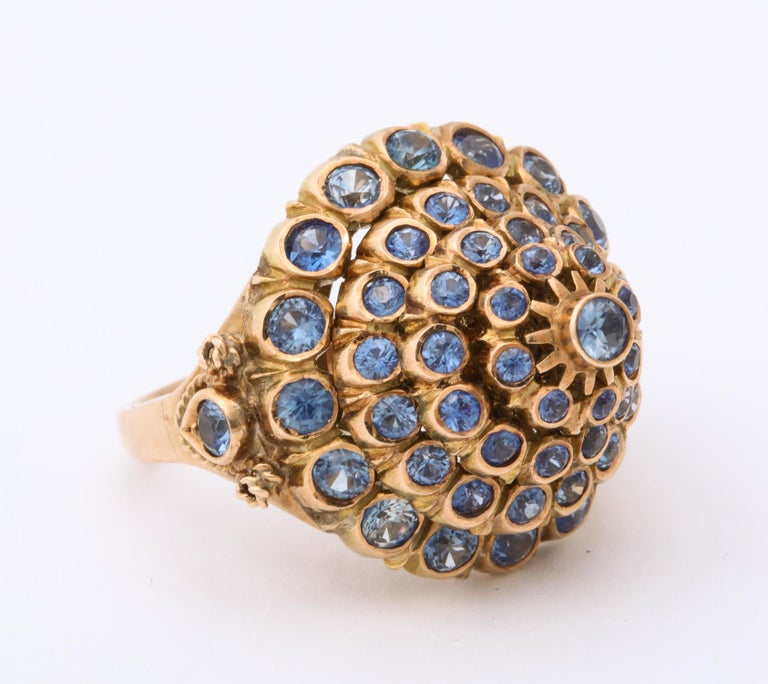 1950s Cone Style Pastel Color Sapphires with Gold Moveable Cocktail Ring For Sale 3
