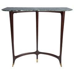 1950s Console Table Italian Design by Enrico Rava Dark Polished Wood Marble Top