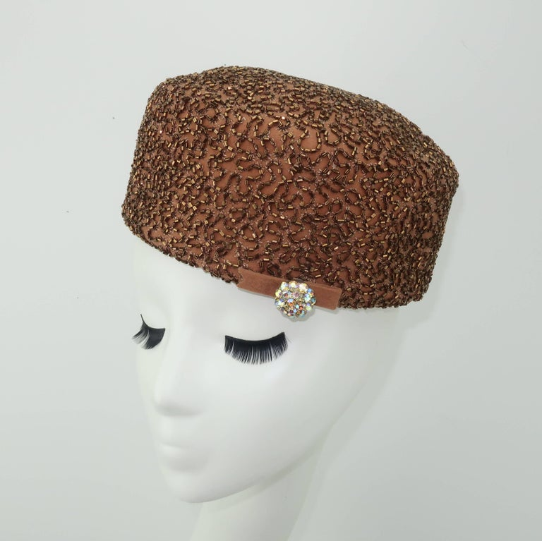 3301fc61ce980 ... Beaded Brown Pillbox Hat For Sale. A glamorous topper from the  California based millinery firm, Leslie James, is a fun