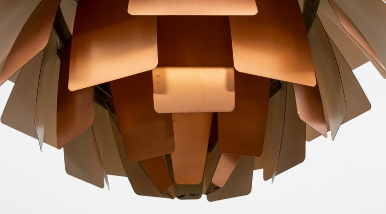 Danish 1950s Copper Ceiling Lamp 'Artichoke' by Poul Henningsen For Sale