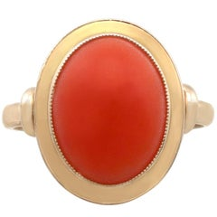 1950s Coral and Yellow Gold Cocktail Ring