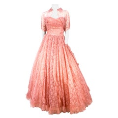 1950s Coral Lace and Tulle Evening Dress/ Ball Gown