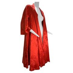 1950s Coral Silk Jacquard Hong Kong Swing Coat w/ Shawl Collar