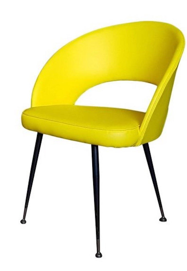 Mid-20th Century 1950s Pair of Yellow Armchairs For Sale